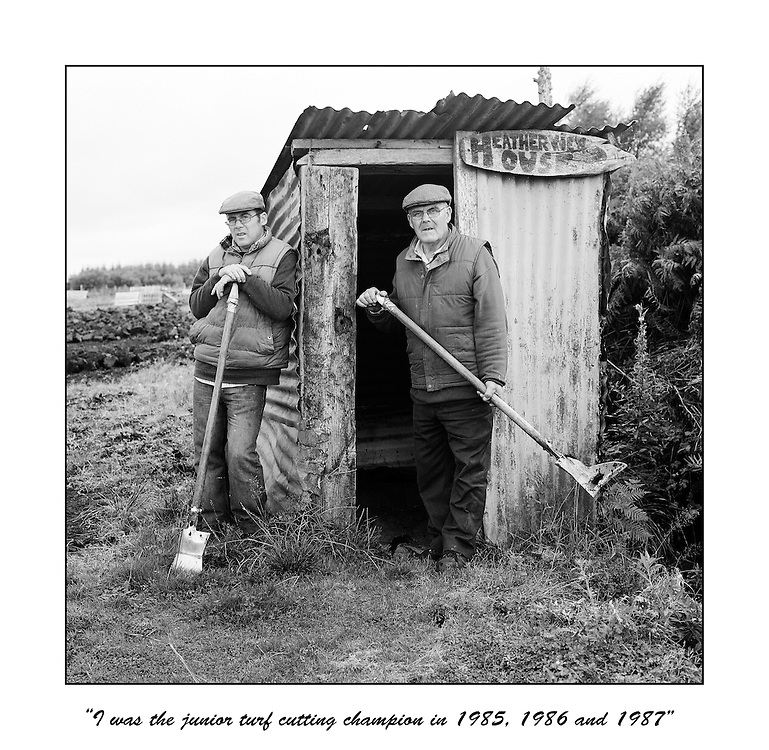 Colm Harrigan and his father John who hand cut turf with sleáns on Mouds bog in Co, Kildare, Ireland. From the end of 2011, they are banned from cutting turf on their bog, which has been in their family for generations.