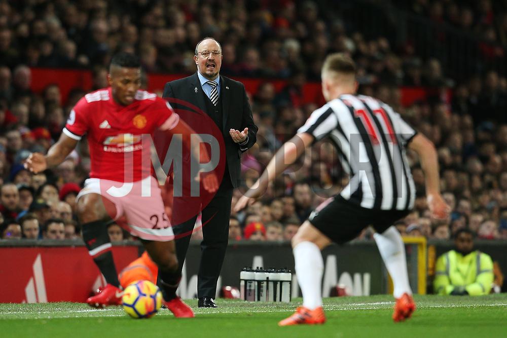 Newcastle United manager Rafa Benitez looks on as Luis Antonio Valencia of Manchester United takes on Matt Ritchie of Newcastle United - Mandatory by-line: Matt McNulty/JMP - 18/11/2017 - FOOTBALL - Old Trafford - Manchester, England - Manchester United v Newcastle United - Premier League