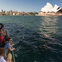 People on a ferry in Sydney Harbour.
