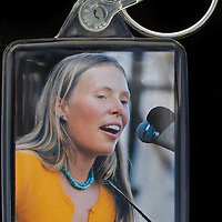 Joni Mitchell - Key Fob with image approx. 35mm x 50mm from 1970 Isle of Wight Music Festival exhibition on the front. The reverse has an exclusive CameronLife  1970 IW festival design