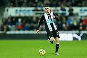 Miguel Almiron (#24) of Newcastle United on the ball during the Premier League match between Newcastle United and Crystal Palace at St. James's Park, Newcastle, England on 21 December 2019.