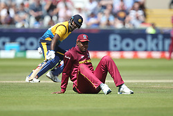 July 1, 2019 - Chester Le Street, County Durham, United Kingdom - West Indies' Oshane Thomas looks on after a misfield during the ICC Cricket World Cup 2019 match between Sri Lanka and West Indies at Emirates Riverside, Chester le Street on Monday 1st July 2019. (Credit Image: © Mi News/NurPhoto via ZUMA Press)
