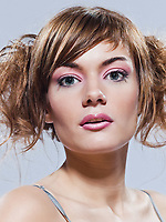 beautiful young caucasian woman girl on studio isolated background