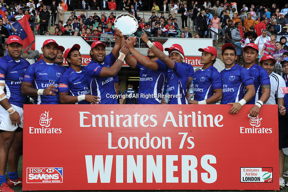 22.05.2011  Samoa winners of the plate at the London Sevens at the Rugby Union HSBC Sevens World Series from Twickenham.