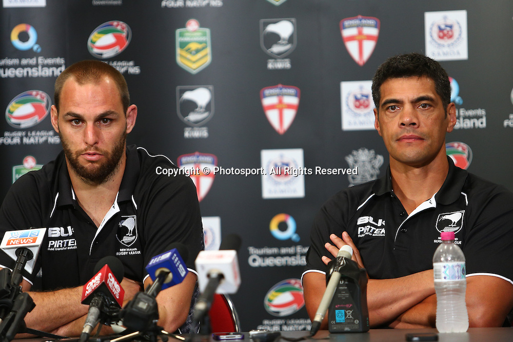 Stephen Kearney (L) and Stephen Kearney (R) following the Four Nations test match between Australia and New Zealand at Suncorp Stadium,  Brisbane Australia on October 25, 2014.