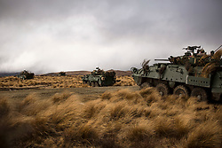 U.S. Marines and Royal New Zealand Army soldiers call for fire from a Light Armoured Vehicle as part of exercise Joint Assault Signals Company Black, Waiouru Military Camp, New Zealand, Sept. 26, 2018. The Marines are with 1st Brigade, 5th Air Naval Gunfire Liaison Company, III Marine Expeditionary Force Information Group. (U.S. Marine Corps photo by Sgt. Jordan E. Gilbert)