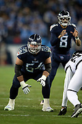 Tennessee Titans offensive guard Josh Kline (64) gets set during the week 14 regular season NFL football game against the Jacksonville Jaguars on Thursday, Dec. 6, 2018 in Nashville, Tenn. The Titans won the game 30-9. (©Paul Anthony Spinelli)