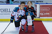 KELOWNA, CANADA - FEBRUARY 24:  Second Star of the Game Leif Mattson #28 of the Kelowna Rockets at the Kelowna Rockets game on February 24, 2018 at Prospera Place in Kelowna, British Columbia, Canada.  (Photo By Cindy Rogers/Nyasa Photography,  *** Local Caption ***