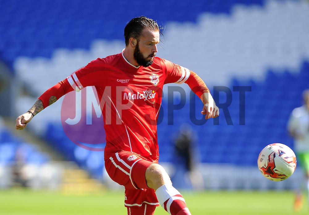 Cardiff City's John Brayford - Photo mandatory by-line: Joe Meredith/JMP - Mobile: 07966 386802 02/08/2014 - SPORT - FOOTBALL - Cardiff - Cardiff City Stadium - Cardiff City v VfL Wolfsburg - Pre-Season Friendly