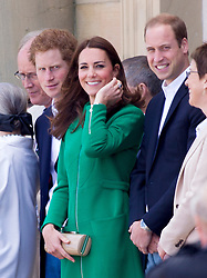 HAREWOOD- UK - 05-JULY-2014: Britain's Prince William and Kate, HRH The Duke and Duchess of Cambridge and Prince Harry attend the Tour De France Grand Depart at Harewood House in Yorkshire. Their Royal Highnesses briefly met cyclists as they lined up at Harewood House for the Ceremonial Start, and officially started the race.<br /> Photograph by Ian Jones
