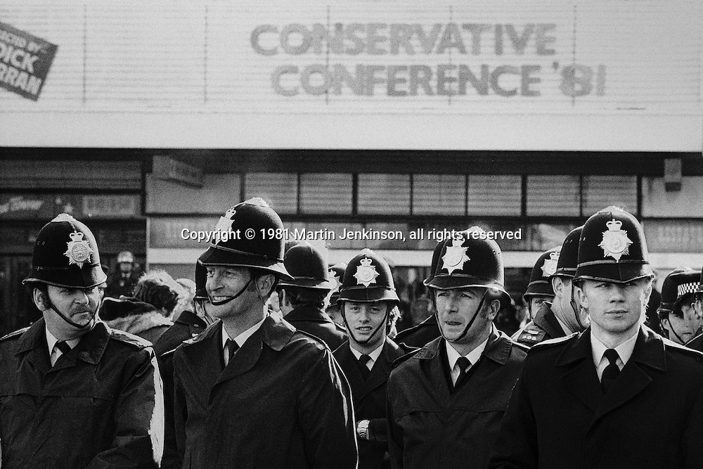 Police at Conservative Party Conference Blackpool 1981