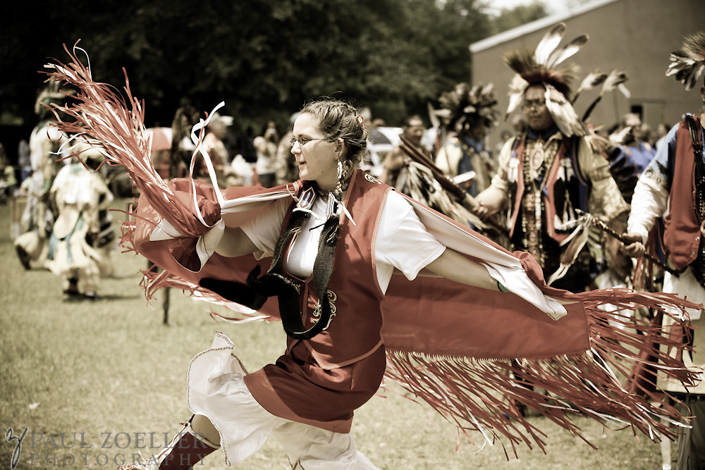 Molly Sikes, of Acworth, GA, spins around the ring during one of many dancesduring the 2011 Annual Edisto Indian Natchez-Kusso Powwow in Ridgeville.