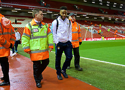 LIVERPOOL, ENGLAND - Wednesday, March 2, 2016: Manchester City's Raheem Sterling arrives before the Premier League match against Liverpool at Anfield. (Pic by David Rawcliffe/Propaganda)