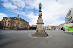 Edinburgh, Scotland, UK. 29 March, 2020. Life in Edinburgh on the first Sunday of the Coronavirus lockdown. Streets deserted, shops and restaurants closed, very little traffic on streets and reduced public transport. Pictured; Bristo Square at Edinburgh University.  Iain Masterton/Alamy Live News