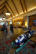 The Fairmont Chateau Whistler luxury hotel. Bobsleigh of Christina Smith and Heather Peterson, first female Canadian pilots at the Salt Lake City Winter Olympics 2002, when women's bobsleigh was introduced at the Games. The sleigh had been co-sponsored by the hotel.