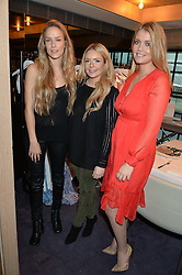 LONDON, ENGLAND 2 DECEMBER 2016: <br /> Left to right, Hum Fleming, Georgia Thompson, Lady Kitty Spencer at a breakfast attended by a host of influencers, press and VIPs to celebrate the official launch of EVARAE the new British luxury resort wear brand, held at The Hari Hotel, 20 Chesham Place, London.  England. 2 December 2016.