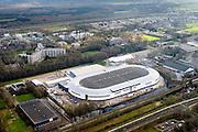 Nederland, Friesland, Heerenveen, 28-02-2016; IJsstadion Thialf tijdens de verbouwing. Overdekte schaatsbaan, bekend van het langebaanschaatsen.<br /> Ice stadium Thialf, covered Icerink luchtfoto<br /> <br /> luchtfoto (toeslag op standard tarieven);<br /> aerial photo (additional fee required);<br /> copyright foto/photo Siebe Swart