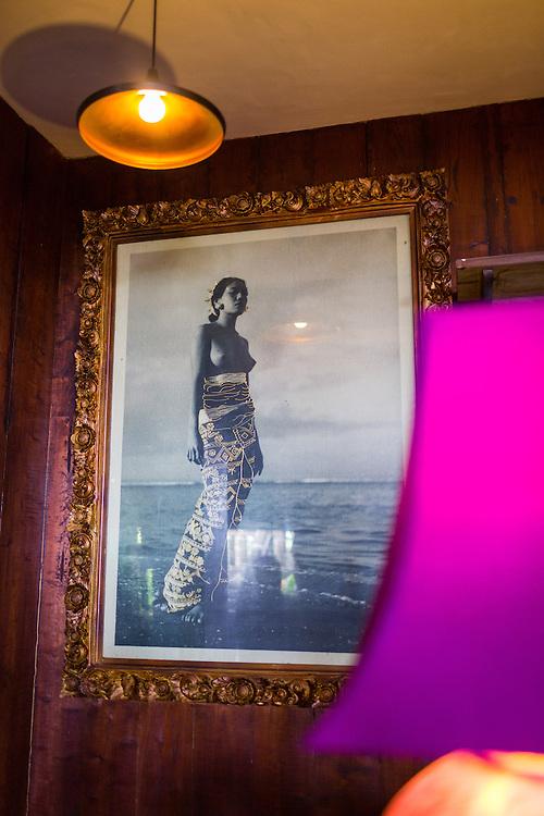 Portrait of Ni Ketut Cenik, a legendary Balinese dancer at Calon Arang Bar.