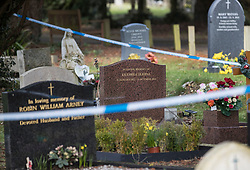 © Licensed to London News Pictures. 08/03/2018. Salisbury, UK. Salisbury. Police cordon tape surrounds the grave of Liudmila Skripal wife of former Russian spy Sergei Skripal in the cemetery in Salisbury. Former Russian spy Sergei Skripal, his daughter Yulia and a policeman are still critically ill after being poisoned with nerve agent. The couple where found unconscious on bench in Salisbury shopping centre. Authorities continue to investigate. Photo credit: Peter Macdiarmid/LNP
