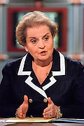 US Secretary of State Madeleine Albright discusses the bombing of the US Embassy in Kenya during NBC's Meet the Press August 9, 1998 in Washington, DC.