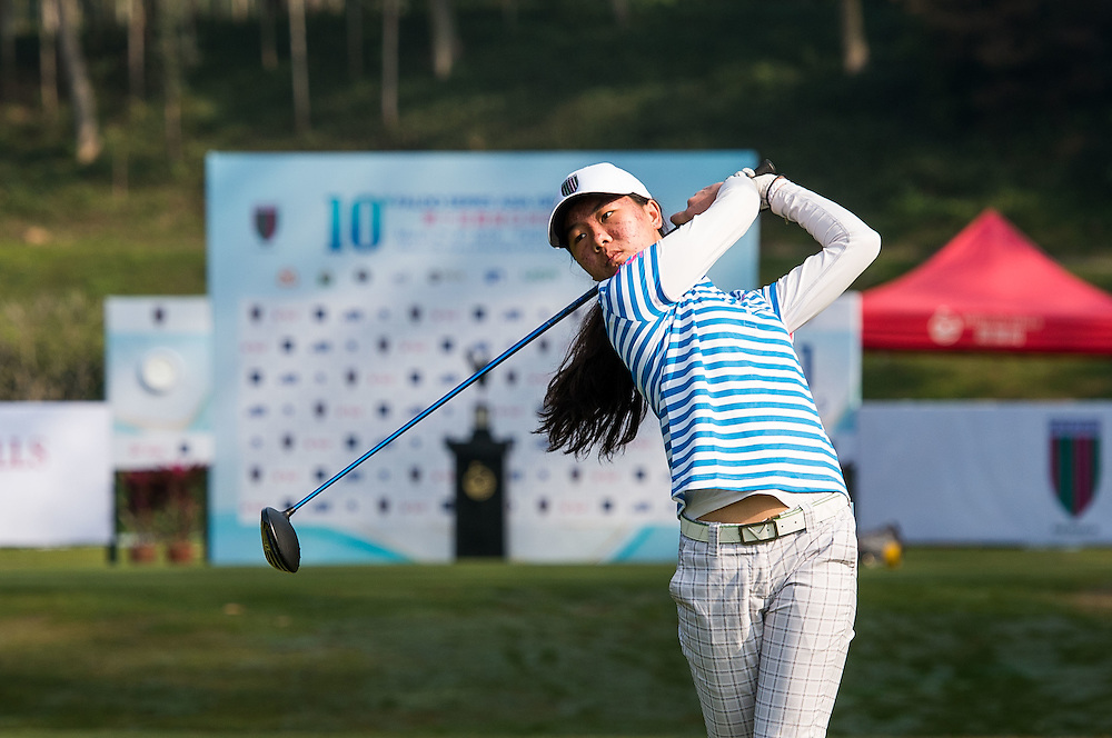 Siyu Wang of China in action during day one of the 10th Faldo Series Asia Grand Final at Faldo course in Shenzhen, China. Photo by Xaume Olleros.