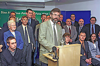 Sinn Fein leader, Gerry Adams, surrounded by his party´s local government candidates, speaking at Press Conference in Belfast´s Waterfront Hall, to launch their election campaign. The local councils go to the polls on June 7 the same date as the UK General Election. 2001051705.<br />