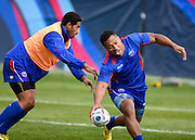 Centre Johnny Leota during the Samoa team training session in preparation for the Rugby World Cup at the University of Brighton, Brighton and Hove, England on 18 September 2015. Photo by David Charbit.