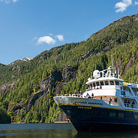 The National Geographic Sea Lion navigating Rudyerd Bay in the Misty Fjords National Monument, Alaska.