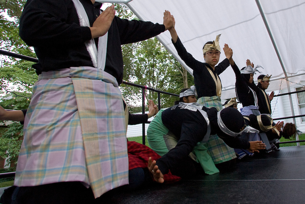 """Memebers of the Ohio University PERMIAS student organization perform a traditional Indonesian Saman Dance during the ?Integrating Islam in the Social Studies Curriculum,"""" Sponsored by The National Resource Centers for African and Southeast Asian Studies and the Ohio Valley International Council."""