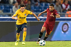 (L-R) Nicolas Gaitan of Club Atletico de Madrid, Bruno Peres of AS Roma during the UEFA Champions League group C match match between AS Roma and Atletico Madrid on September 12, 2017 at the Stadio Olimpico in Rome, Italy.