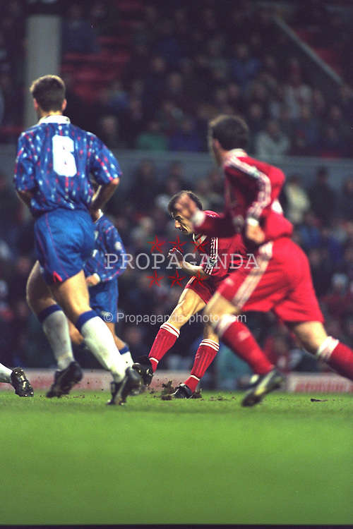 LIVERPOOL, ENGLAND - Saturday, January 6, 1996: Liverpool's Ian Rush scores the fifth goal against Rochdale during the FA Cup 3rd Round match at Anfield. Rush set a new cup record by scoring his 42nd FA Cup goal, beating the record held by Dennis Law. (Photo by David Rawcliffe/Propaganda)