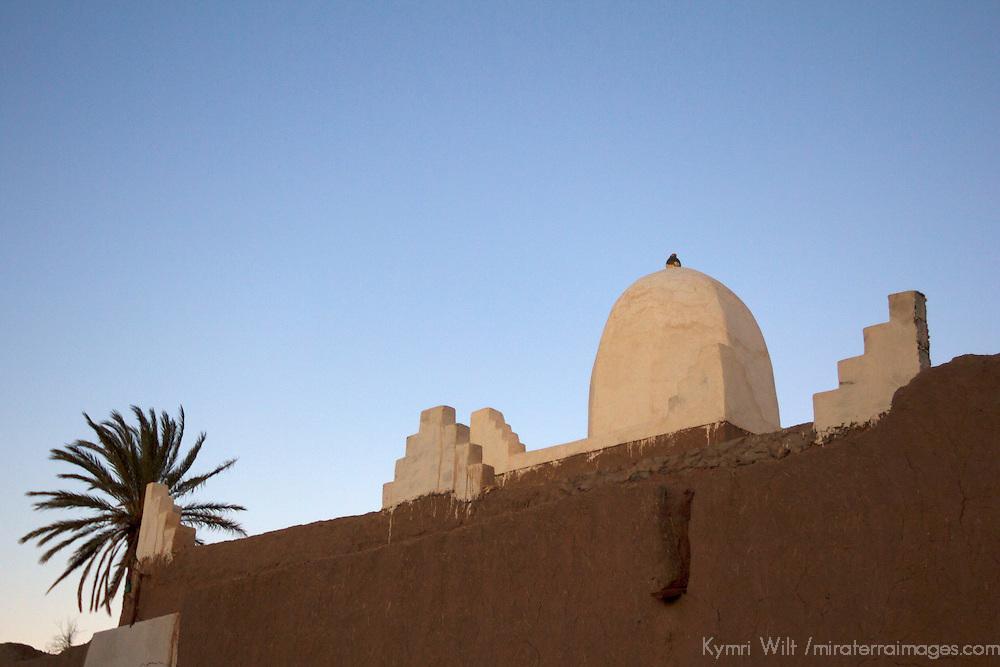 Africa, Morocco, Skoura. White trim kasbah of Skoura.