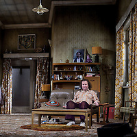Jonathan Watson  and Paul Rilety (seated).<br /> <br /> Yer Granny - a new production by The National Theatre of Scotland opens at the Beacon arts Centre, Greenock, Scotland.<br /> <br /> <br /> Based on La Nona by Roberto Cossa<br /> In a new version by Douglas Maxwell<br /> Directed by Graham McLaren<br /> <br /> <br /> Picture by Drew Farrell<br /> Tel : 07721-735041<br /> Image offered on a speculative basis.<br /> <br /> Yer Granny is a riotous new comedy about a diabolical 100-year-old granny who&rsquo;s literally eating her family out of house and home. She&rsquo;s already eaten their fish and chip shop into bankruptcy and now she&rsquo;s working her way through their kitchen cupboards, pushing the Russo family to desperate measures just to survive beyond 1977.<br /> <br /> As proud head of the family, Cammy is determined that The Minerva Fish Bar will rise again and that family honour will be restored &ndash; and all in time for the Queen&rsquo;s upcoming Jubilee visit. But before Cammy&rsquo;s dream can come true and before Her Maj can pop in for a chat, a single sausage and a royal seal of approval, the family members must ask themselves how far they will go to solve a problem like Yer Granny.<br /> <br /> Adapted from the smash-hit Argentinian comedy classic La Nona, the cast of Yer Granny features some of Scotland&rsquo;s best-loved performers, including Gregor Fisher in the title role, alongside Paul Riley (Still Game), Jonathan Watson (Only An Excuse?), Maureen Beattie (Casualty), Barbara Rafferty (Rab C Nesbitt), Brian Pettifer (The Musketeers) and Louise McCarthy (Mamma Mia!, West End).<br /> <br /> Performance dates :<br /> The Beacon Arts Centre, Greenock<br /> 19/05/2015&nbsp;-&nbsp;21/05/2015 <br /> <br /> King's Theatre, Glasgow<br /> 26/05/2015&nbsp;-&nbsp;30/05/2015 <br /> <br /> King's Theatre, Edinburgh<br /> 02/06/2015&nbsp;-&nbsp;06/06/2015 <br /> <br /> Eden Court, Inverness<br /> <br /> Lyric Theatre, Belfast<br /> 23/06/2015&nbsp;-&nbsp;27/06/2015 <br /> <br /> Dundee Rep Theatre<br /> 30/06/2015&nbsp;-&nbsp;04/07/2015