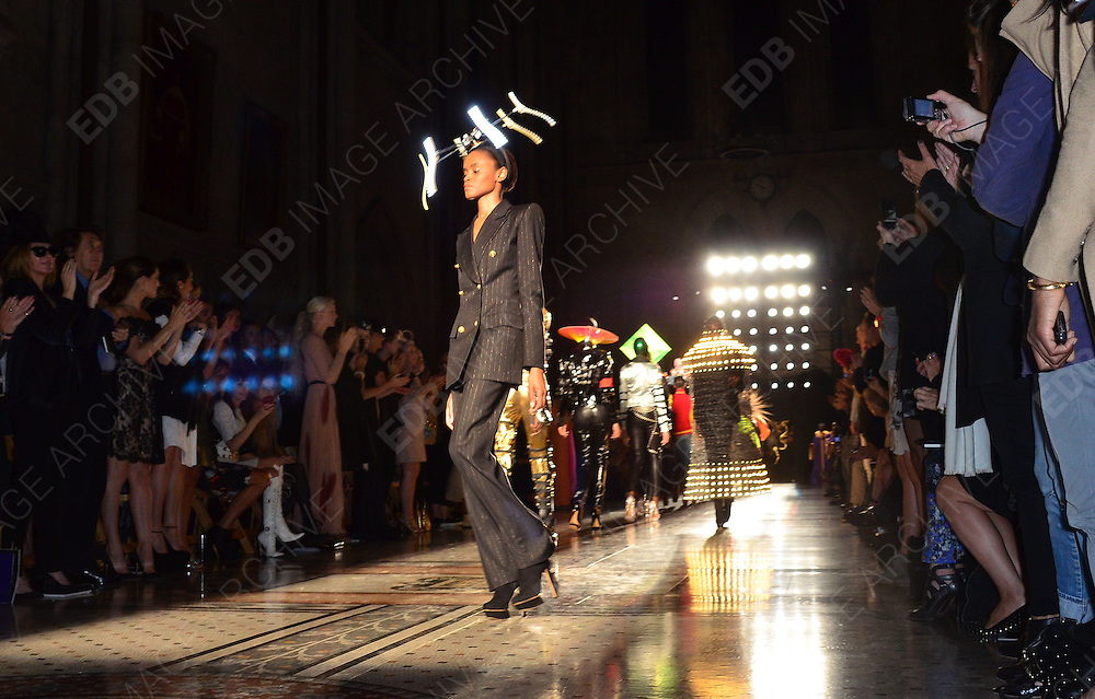16.SEPTEMBER.2012. LONDON<br /> <br /> MODELS ON THE RUNWAY AT THE LFW PHILIP TREACY CATWALK SHOW.