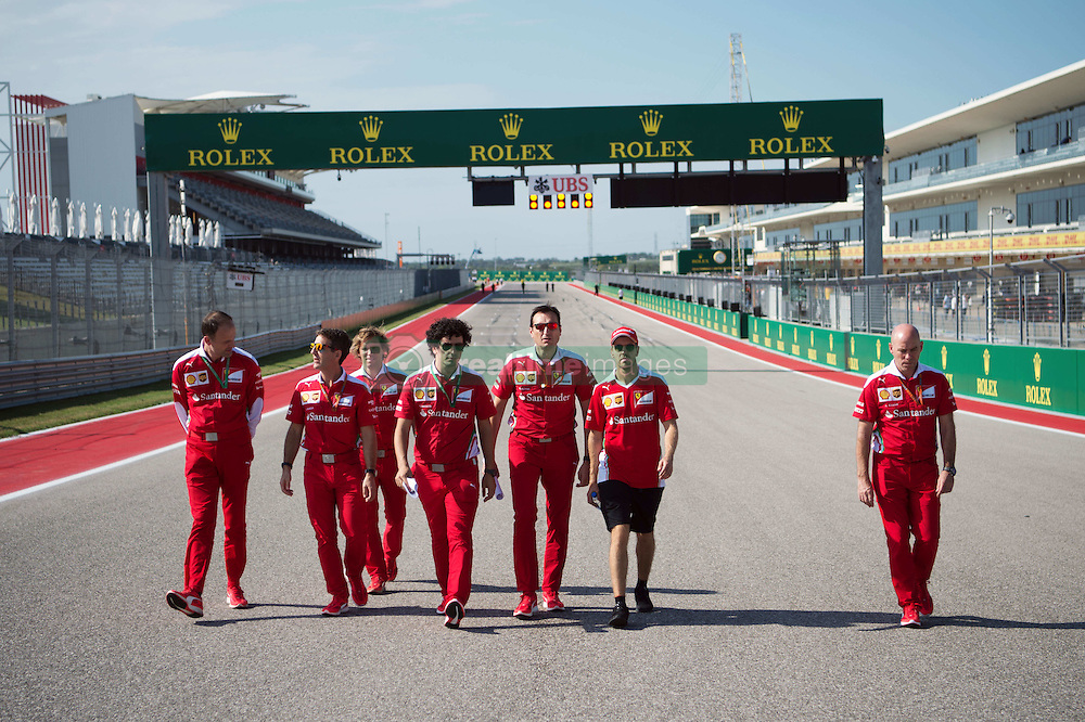 Sebastian Vettel (GER) Ferrari walks the circuit with the team.<br /> 20.10.2016. Formula 1 World Championship, Rd 18, United States Grand Prix, Austin, Texas, USA, Preparation Day.<br />  Copyright: Price / XPB Images / action press