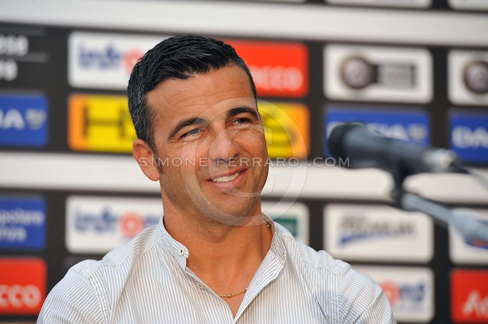 Udine 07/07/2014 <br /> Calcio Serie A 2014/15<br /> Udinese.<br /> Conferenza stampa di Antonio Di Natale (nella foto)  e del ds Cristiano Giarretta per l'apertura del ritiro pre campionato.