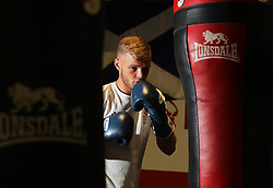Callum French during a photocall at Birtley boxing club, Gateshead.