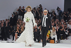 German fashion designer Karl Lagerfeld on the catwalk after Chanel 2005-2006 Fall-Winter Haute-Couture fashion show in Paris, France on July 7, 2005. Photo by JAVA/ABACAPRESS.COM