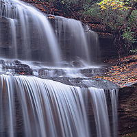 Close up shot of Woods Cove Falls, near Brevard, North Carolina. On private property.