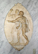 Pugilistes. Stone relief of two pugilist men on a pointed oval.