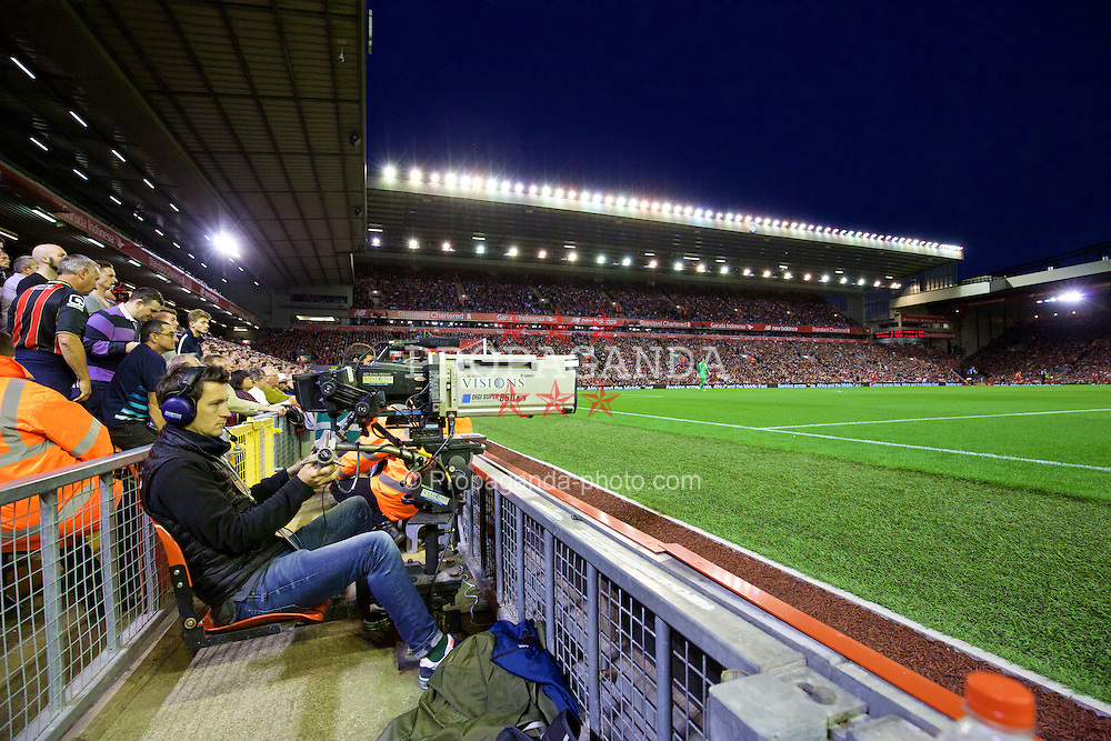 LIVERPOOL, ENGLAND - Monday, August 17, 2015: A television camera during the Premier League match between Liverpool and AFC Bournemouth at Anfield. (Pic by David Rawcliffe/Propaganda)