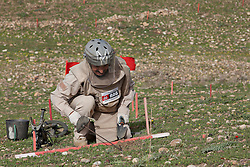 © Licensed to London News Pictures. 03/04/2013. London, UK. UN International Mine Awareness Day [FILE PHOTO NOT FOR ONLINE USE].  A Mines Advisory Group deminer member probes the ground in a minefield after picking contact on his mine detector near Khalo Bazany Village, Kirkuk, Iraq.  Laid by Iraqi forces in 1987 to stop Kurdish Peshmerga using the area as a route to attack Kirkuk deminers have found a total of 38 mines so far, once cleared the area will be used by local villagers to graze livestock. Photo credit: Matt Cetti-Roberts/LNP