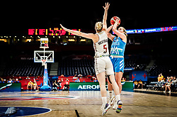 Kim Mestdagh of Belgium vs Annamaria Prezelj of Slovenia during basketball match between Women National teams of Belgium and Slovenia in the Qualification for the Quarter-Finals of Women's Eurobasket 2019, on July 2, 2019 in Belgrade Arena, Belgrade, Serbia. Photo by Vid Ponikvar / Sportida