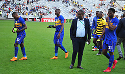 Cape Town--180401  Cape Town City players look disappointed after being  knocked out of the Nedbank Cup quarter final game by Sundowns  at the Cape Town Stadium.Sundowns won the game 2-1 and will play maritzburg in the Semi-final  .Photographer;Phando Jikelo/African News Agency/ANA