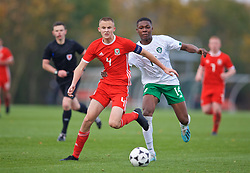 WREXHAM, WALES - Wednesday, October 30, 2019: Wales' captain Zak Williams (L) and Republic of Ireland's Edwin Agbaje during the 2019 Victory Shield match between Wales and Republic of Ireland at Colliers Park. (Pic by David Rawcliffe/Propaganda)