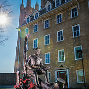 This statue of Col. John McCrae sits beside the Guelph Civic Museum.  He wrote 'In Flanders Fields', the famous World War 1 poem.  Photo by Andrew Goodwin