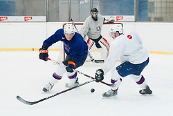 Jan Urbas nd Rok Lebar during practice session of Slovenian Ice Hockey National Team for IIHF World Championship in Sweden and Finland, on March 28, 2013, in Arena Zlato Polje, Kranj, Slovenia. (Photo by Vid Ponikvar / Sportida.com)