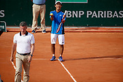 Yoshihito NISHIOKA (JPN) reacted desagree about referee decision during the Roland Garros French Tennis Open 2018, day 1, on May 27, 2018, at the Roland Garros Stadium in Paris, France - Photo Stephane Allaman / ProSportsImages / DPPI