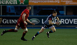 Cardiff Blues' Lloyd Williams makes a break<br /> <br /> Photographer Simon King/Replay Images<br /> <br /> Guinness PRO14 Round 15 - Cardiff Blues v Munster - Saturday 17th February 2018 - Cardiff Arms Park - Cardiff<br /> <br /> World Copyright © Replay Images . All rights reserved. info@replayimages.co.uk - http://replayimages.co.uk