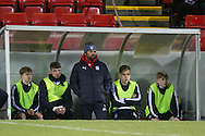 Dundee manager Paul Hartley watches James McPake make his comeback after injury - Rangers v Dundee in the SPFL Development League at Forthbank, Stirling. Photo: David Young<br /> <br />  - &copy; David Young - www.davidyoungphoto.co.uk - email: davidyoungphoto@gmail.com